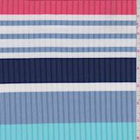 *2 1/4 YD PC--Powder Blue/Navy Stripe Rib Knit