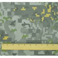 *1 YD PC--Green/Gray/Multi Abstract Camo Pixel Bonded Mesh