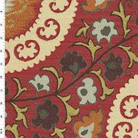 *2 1/8 YD PC--Red/Orange/Multi Floral Jacquard Home Decorating Fabric