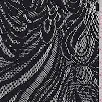 Black Fountain Medallion Stretch Lace