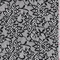 Matte Black Stylized Floral Lace