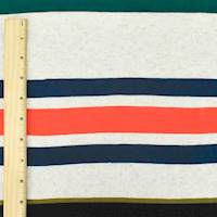 *7/8 YD PC--Navy/Orange/Multi Stripe Slub Jersey Knit