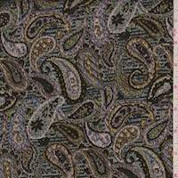 Black Multi Metallic Paisley Jacquard Brocade