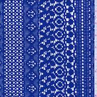 Deep Royal Blue Deco Stripe Lace