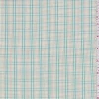 *2 3/8 YD PC--Cream/Turquoise Check Shirting