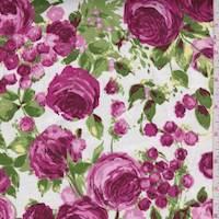 *1 5/8 YD PC--White/Aubergine Rose Garden Sateen