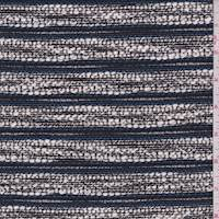 *2 5/8 YD PC--White/Deep Blue Cotton Boucle
