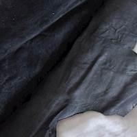Deep Gunmetal Gray Metallic Textured Leather Hide