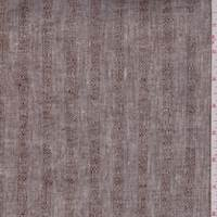 *5 7/8 YD PC--Heather Brown Embroidered Stripe Linen