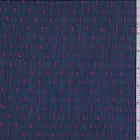 Navy/Fuchsia Clip Crinkle Chiffon