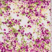 White/Magenta Floral Cluster Cotton Lawn
