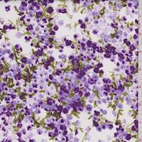 White/Lilac Floral Cluster Cotton Lawn