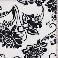 White/Black Stylized Floral Cotton Lawn