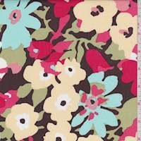 Brown Multi Floral Poplin