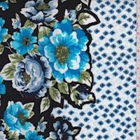 Black/Blue/White Floral Border Poplin