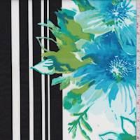 Aqua/White Hibiscus Poplin