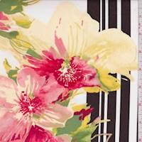 Pale Yellow/White Hibiscus Poplin