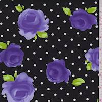 Black/Purple Rose Poplin