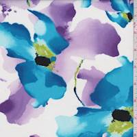 White/Aqua/Lilac Watercolor Floral Poplin