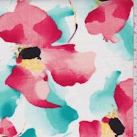 White/Red/Teal Watercolor Floral Poplin