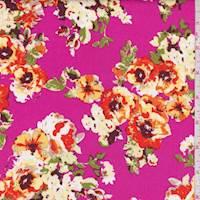 Hot Pink Floral Cluster Poplin