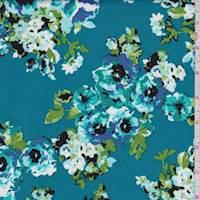 Teal Floral Cluster Poplin