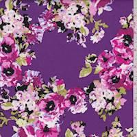 Purple Floral Cluster Poplin