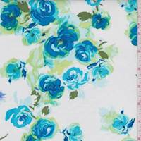 White/Teal Rose Chain Poplin