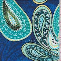 Royal/Turquoise Paisley Poplin