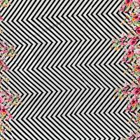 Black/White/Deep Pink Chevron Floral Poplin