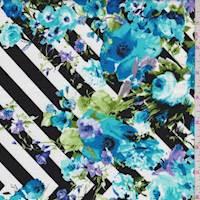 Black/White/Aqua Chevron Floral Poplin