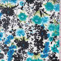 White/Teal/Black Daisy Poplin