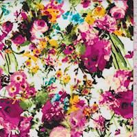 White/Magenta Floral Garden Poplin