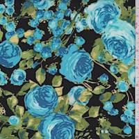 *1 1/8 YD PC--Black/Turquoise Rose Rayon Challis