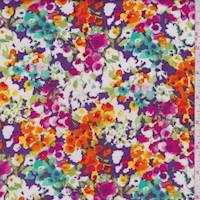Purple Multi Mottled Floral Rayon Challis