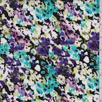 Black/Aqua Multi Mottled Floral Rayon Challis