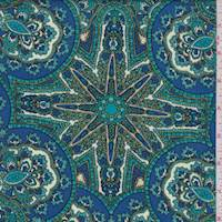 Royal/Teal Medallion Rayon Challis
