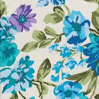 Ivory/Turquoise Bold Floral Poplin