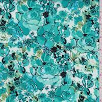 Aquamarine Sketch Floral Poplin
