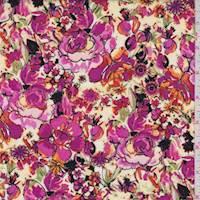Fuchsia Sketch Floral Poplin