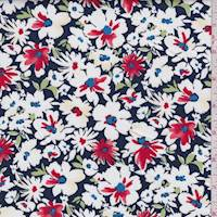 Navy/Red Multi Floral Bloom Poplin