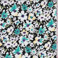 Black/Teal Multi Floral Bloom Poplin