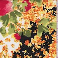Black/Gold Bold Floral Poplin