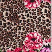Brown/Pink Leopard Floral Stretch Sateen