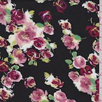 Black/Blush Rose Cluster Rayon Challis