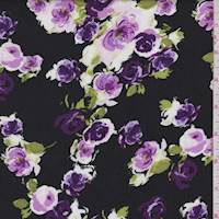 Black/Grape Rose Cluster Rayon Challis