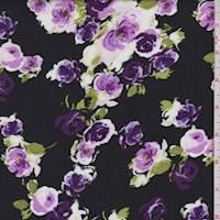 Black/Grape Rose Cluster Rayon Challis