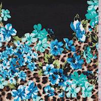 Black/Aqua Leopard Floral Stretch Sateen