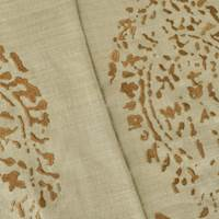 Beige/Brown Paisley Embroidered Silk Decorating Fabric