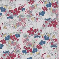 *3 1/4 YD PC--White Multi Floral Print Voile